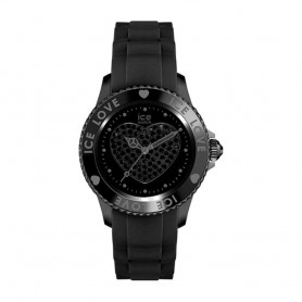Déstockage montre femme cadran rond en soldes ice watch ice love black big swarovski LO.BK.B.S.11
