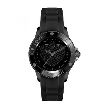 Déstockage montre femme cadran rond en soldes ice watch ice love black big swarovski LO.BK.B.S.11