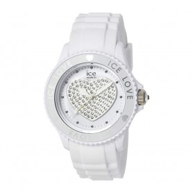Déstockage montre femme cadran rond en soldes ice watch ice love white big swarovski LO.WE.B.S.10