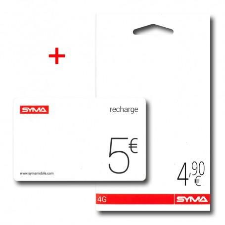 Carte SIM prépayée SYMA 4€ crédit inclus + recharge SYMA offerte