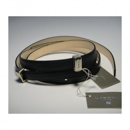 Soldes Lancel ceinture fine boucle femme cuir noir L Lancel