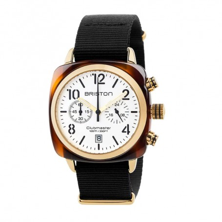 SOLDE BRISTON Déstockage montre chronographe Briston Clubmaster Classic Acétate Gold Blanc pas cher