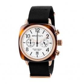 SOLDE BRISTON Déstockage montre chronographe Briston Clubmaster Classic Acétate blanc et or rose pas cher
