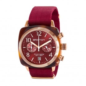 SOLDE BRISTON Déstockage montre chronographe Briston Clubmaster Classic Acétate rouge et or rose pas cher