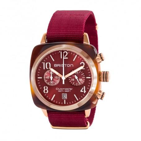 SOLDE BRISTON Déstockage montre chronographe Briston Clubmaster Classic Acétate rouge et or rose pas cher