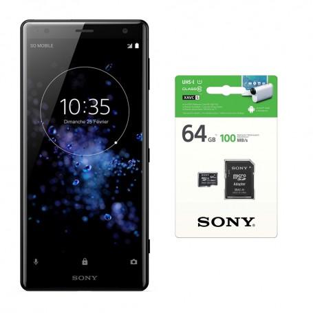 Pack Sony XPERIA XZ2 + carte micro SD 64 Go avec adaptateur