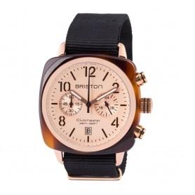 Montre chronographe Briston Clubmaster Classic Acétate écaille de tortue cadran champagne rosé et or rose