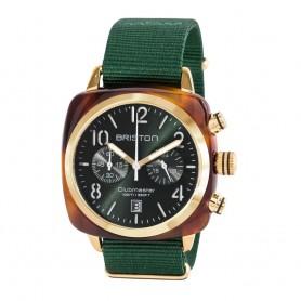 Montre chronographe Briston Clubmaster Classic Acétate écaille de tortue cadran vert soleillé et or jaune