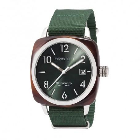SOLDE BRISTON Déstockage montre Briston Clubmaster Classic cadran vert soleillé et bracelet nato vert anglais pas cher