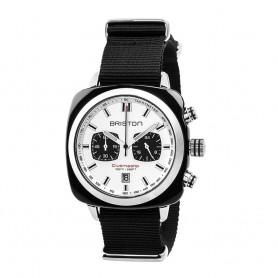 SOLDE BRISTON Déstockage montre chronographe Briston Clubmaster Sport Acétate noir bracelet nato noir