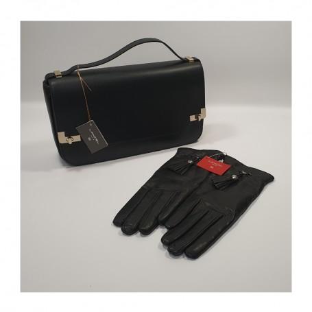 SOLDES LANCEL Déstockage pack Lancel Sac à main L de Lancel noir et paire de gants Lancel Premier Flirt Le Classique pas cher