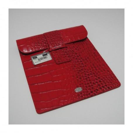 Soldes housse iPad cuir rouge imprimé croco Remember Me Lancel