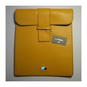 Soldes housse iPad cuir jaune fermeture languette Remember Me Lancel