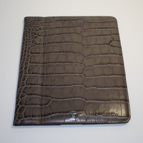 Déstockage étui iPad Mini cuir marron imprimé croco Remember Me Lancel en soldes