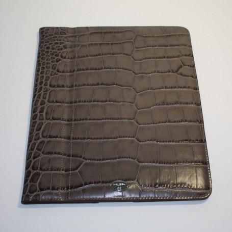 Soldes étui iPad Mini cuir marron imprimé croco Remember Me Lancel