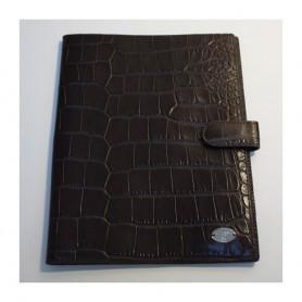 Solde porte documents cuir façon croco marron Remember Me Lancel