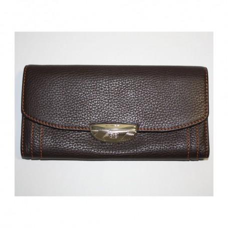 Déstockage portefeuille cuir grainé marron pour femme Le Compagnon de Lancel en soldes