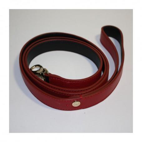 Déstockage laisse pour chien en cuir  rouge et noir Lancel en soldes