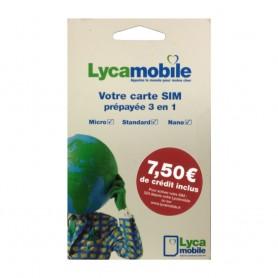 Solde carte prépayée Lycamobile Déstockage carte sim prépayée Lycamobile 7.5€ de crédit de communication inclus pas cher