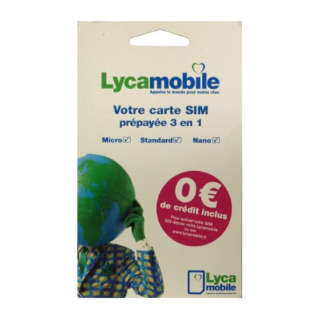 Solde carte prépayée Lycamobile Déstockage carte sim prépayée Lycamobile 0€ de crédit pas cher