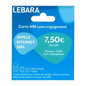 déstockage carte sim prépayée Lebara mobile avec 7.5€ de crédit de communication inclus en soldes. Carte SIM Lebara Mobile 4G+