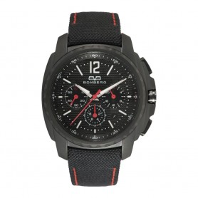déstockage montre chronographe homme Bomberg Maven Chronograph Black Red cadran 44mm en soldes