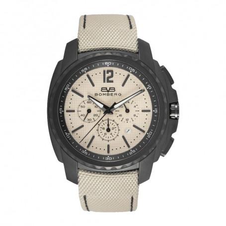 Solde montre chronograph homme Bomberg Maven Chronograph Black Beige cadran 44mm pas cher
