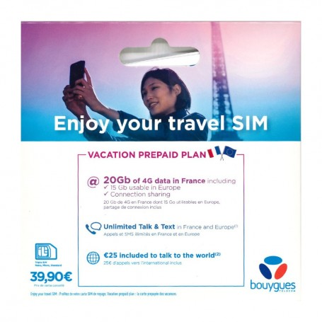 Carte SIM Prépayée Bouygues Télécom Travel SIM