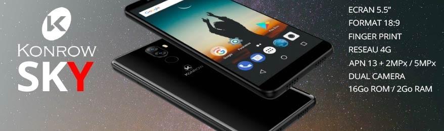 Soldes Konrow  - Déstockage smartphone 4G double SIM Konrow Sky pas cher