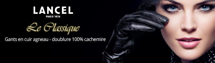 Déstockage LANCEL, paire de gants en 100% cuir agneau et doublure 100% cachemire taille 8 pour femme, Le Classique de Lancel