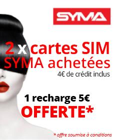 Offre cadeau SYMA : 1 recharge 5€ offerte pour 2 cartes SIM prépayées SYMA 4€de crédit inclus