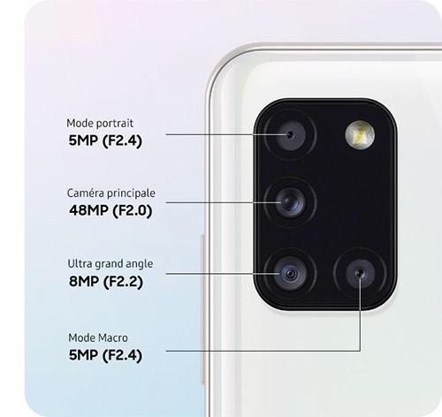 Samsung Galaxy A31 4 capteurs photos 66 Mpx