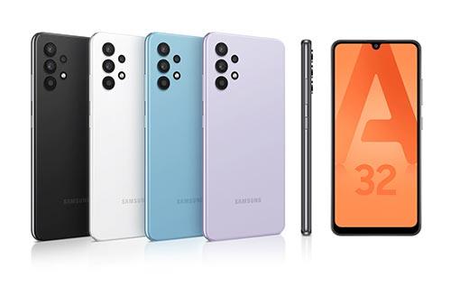 Samsung Galaxy A32 design minimaliste et couleurs pastelles et classiques