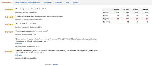 Avis client Soldestock sur Amazon